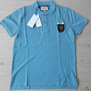 Gucci Men`s Blue Polo Medium %100 Cotton